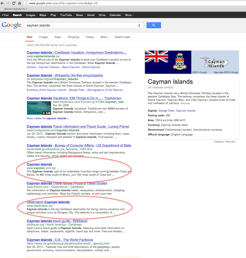 "Google Search for ""Cayman Islands"""