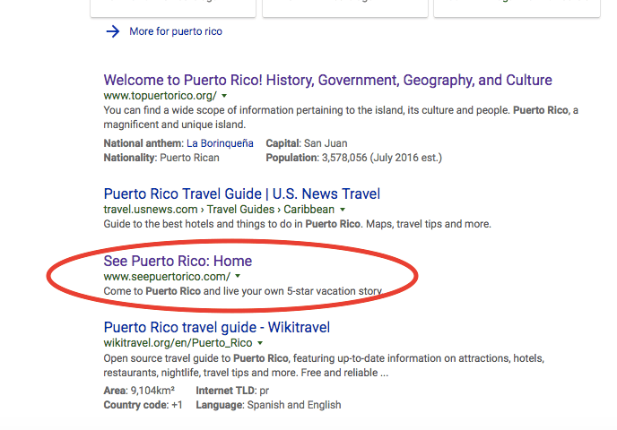 Search Snippet of Puerto Rico