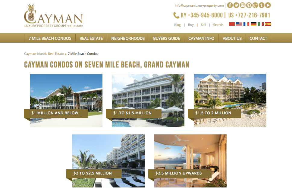 "Landing page for ""Condos on Seven Mile Beach for sale"""
